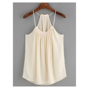 Beige Spaghetti Straps Loose Solid Blouse